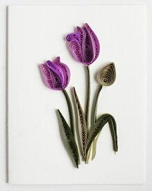 Quilling Card(クイリングカード) グリーティングカード Purple Tulip  チューリップ