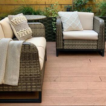 PATIOPETITE(パティオプティ)SAHARAサハラ・ソファダブル2屋外用家具2人掛けソファガーデンソファーソファ二人人工ラタンイス椅子アウトドアガーデンチェアバルコニー