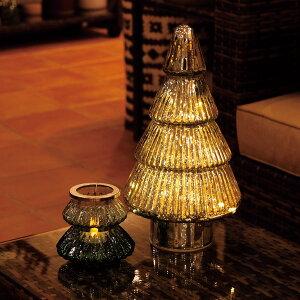 CLOVER(クローバー) クリスマスツリー M ダークグリーン/ホワイト/レッドガラス インテリア オブジェ 置物 ツリー置物 アンティーク加工 クリスマスツリーモチーフ クリスマスインテリア おし