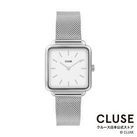 【日本正規品】クルース 時計 / CLUSE 日本総代理店 公式ストア ラ・テトラゴン シルバー メッシュ / ホワイト 正規品 レディース 腕時計ポイント10倍