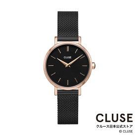 【日本正規品】クルース 時計 / CLUSE 日本総代理店 公式ストア ラ・ボエーム ペティット メッシュ ローズゴールド ブラック / ブラック 正規品 レディース 腕時計ポイント10倍