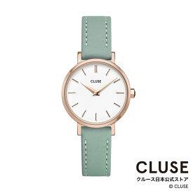 【日本正規品】クルース 時計 / CLUSE 日本総代理店 公式ストア ラ・ボエーム ペティット レザー ローズゴールド ホワイト / ストーングリーン 正規品 レディース 腕時計ポイント10倍