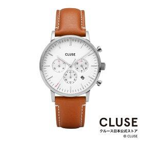 【日本正規品】クルース 時計 / CLUSE 日本総代理店 公式ストア アラヴィスクロノ レザー シルバー ホワイト / ライトブラウン 正規品 メンズ 腕時計ポイント10倍