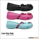 crocs kids【クロックスキッズ】 Lina Flat Kids / リナ フラット キッズ  メリージェーン シャイナ ペア フラット サンダル キッズ...