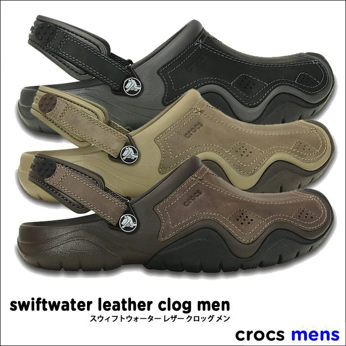 crocs【クロックス】Swiftwater Leather Clog Men / スウィフトウォーター レザー クロッグ メンズ ※※ アウトドア キャンプ フェス 釣り 街歩き