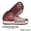 ..▼-40% CROCS【クロックス】Crocband Logo Clog/ クロックバンド ロゴ クロッグ/ ガーネット×スタッコ|メンズ レ…