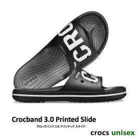 【1,200円OFFクーポン配布中】CROCS【クロックス】Crocband 3.0 Printed Slide / クロックバンド 3.0 プリンテッド スライド / ブラック×ホワイト| ※※