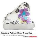 ▲¥2480 送料無料▼ CROCS【クロックス】Crocband Platform Hyper Tropic Clog/ クロックバンド プラットフォーム ハイパー トロピック クロッグ/ ネオンフローラル×ホワイト|