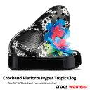 ▲¥2480 送料無料▼ CROCS【クロックス】Crocband Platform Hyper Tropic Clog/ クロックバンド プラットフォーム ハイパー トロピック クロッグ/ ネオンフローラル×ブラック|