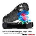 ▲¥2480 送料無料▼ CROCS【クロックス】Crocband Platform Hyper Tropic Slide/ クロックバンド プラットフォーム ハイパー トロピック スライド/ ネオンフローラル×ブラック 
