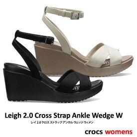 【クーポン使用で1600円OFF】CROCS【クロックス】Leigh 2.0 Cross Strap Ankle Wedge W / レイ 2.0 クロスストラップ アンクル ウェッジ |※※ レディース サンダル オフィス パンプス バレーシューズ 医療 医療用 社内 会社 仕事