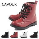 【CAVOUR カヴール】【ブーツ】 レースアップショートブーツ サイドファスナー 10-8025