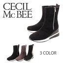 【CECIL McBEE セシルマクビー】【ブーツ】 ショートブーツ サイドジッパー ウェッジソール 厚底 cm8061