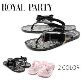 【ROYAL PARTY (ロイヤルパーティー)】【サンダル】トング ローヒール 安定感 リボン フラット 夏 ビーチ リゾート プール rp8900