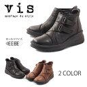 【VIS ヴィス】【ブーツ】 ショートブーツ サイドファスナー EEEE 幅ゆったり vis8001 VIS8001