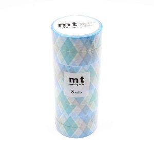 mt マスキングテープ 8P 三角とダイヤ・ブルー MT08D336「他の商品と同梱不可/北海道、沖縄、離島別途送料」