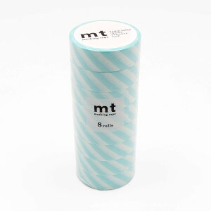 mt マスキングテープ 8P ストライプ・ミントブルー MT08D373「他の商品と同梱不可/北海道、沖縄、離島別途送料」