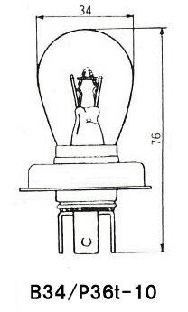 扶桑電機工業(フォーカス) 自動車用電球 業務用10個入り セミシールド型 24V60/60W ガラス球:B34/口金:P36t−10 用途:前照灯 A5056