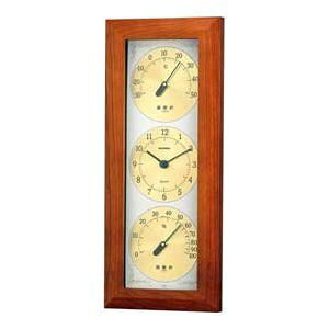 温湿度計 高精度 エンペックス 時計 木目 記念品 インテリア アナログ 日本製 壁掛け ウェザータイム温度・時計・湿度計 TM-726