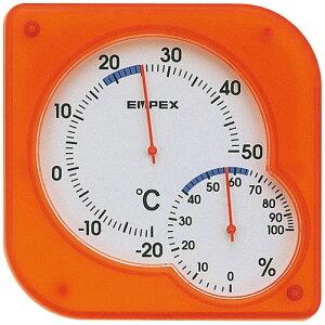 温湿度計 エンペックス アナログ 壁掛け 置き型 シュクレmidi温湿度計 オレンジ TM-5604