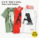 Aスターフラッグ Tシャツ 男の子 子供服 半袖 Tシャツ キッズ 綿100 コットン100 90cm-150cm