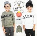 コッキー ARMY 長袖Tシャツ 男の子 女の子 110cm-160cm ホワイト/カーキ 綿100%