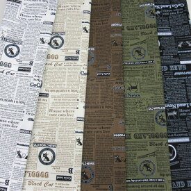 みんな大好き ココランドの黒猫シリーズ 最新作 布  入園入学にもオックス 110cm幅  綿100% 日本製 生地50cm単位の販売、単価