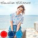 """アロハシャツ かりゆしウェア """"Hawaiian Hibiscus"""" レディース(女性用) 半袖レギュラーシャツ 全3色 大きいサイズあり  沖縄結婚式にアロハシャツ 送料無料"""