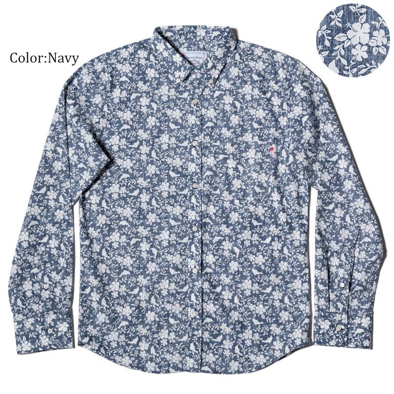 かりゆしウェア アロハシャツ メンズ(男性用)「Dolfine&Plant」全2色 人気アロハがリニューアル! 長袖 LL 大きいサイズあり 沖縄結婚式にアロハシャツ【メール便利用で送料無料】