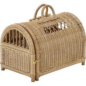 籐製ペットハウス 取っ手付き 籐 ラタン ペットハウス ペットキャリーバスケット おしゃれ アジアン 家具 猫 バスケット R281