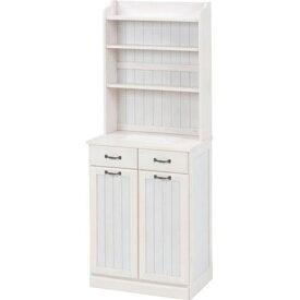 上段シェルフ付きキッチンカウンター 幅59cm 高さ155cm ホワイトウォッシュ MUD-6532WS
