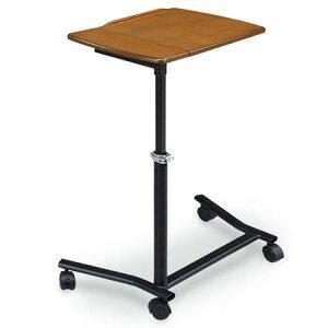 サイドテーブル キャスター付き YOKE ライトブラウン 角度 高さ 調整 昇降 ベッドサイドテーブル ソファーサイドテーブル おしゃれ コンパクト スリム パソコン PC タブレット 読書 ベッドサ