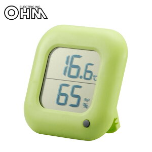 【代引き・同梱不可】 オーム電機 OHM デジタル温湿度計 緑 TEM-100-G