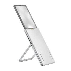 【代引き・同梱不可】 エッシェンバッハ イージーポケット LEDライト付手持ちルーペ 2.5倍 XL シルバー 1522-11 拡大鏡 キズ付きにくい ボタン電池 コンパクト スライド スタンド付 ド