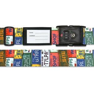 【代引き・同梱不可】 スーツケースベルト TSAベルト ナンバープレート柄 目印 預入手荷物 固定 旅行 派手 かわいい 空港 バンド おしゃれ 個性的 ポップ アメリカン 黒