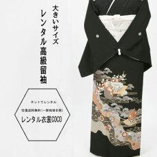鶴紫亀甲紋様レンタル黒留袖・2L寸