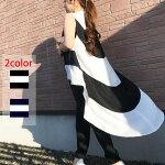 ワンピース半袖ワンピースtシャツ裾フリルチェックボーダーレース個性的ブラック黒カジュアルワンピースアシンメトリー