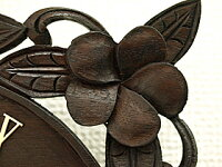 《バリ雑貨》木製時計プルメリア