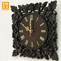 《バリ雑貨》木製レリーフ時計プルメリア