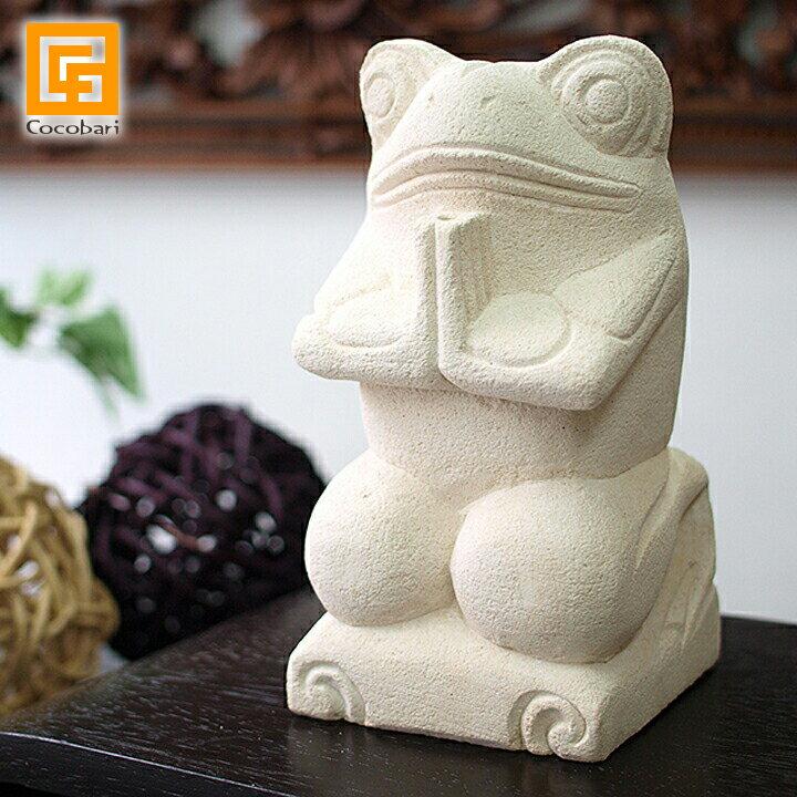 カエルの石像(お祈り)(S)【 バリ 雑貨 ストーン アジアン 雑貨 かえる 】