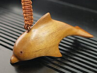 《バリ》木製キーホルダーイルカ