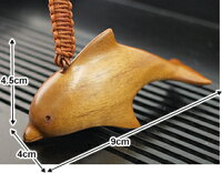 《バリ雑貨》木製キーホルダーイルカ