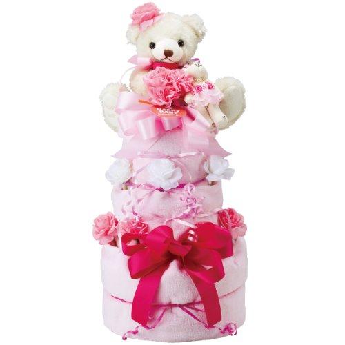 パンパース紙おむつSサイズ使用 おむつケーキ 3段 ピンク 201310000P オムツケーキ