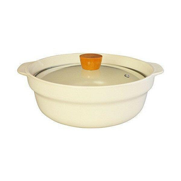 吹きこぼれにくい 軽量 土鍋 9号 ガラス蓋 白 27.0cm(3〜4人用)50316