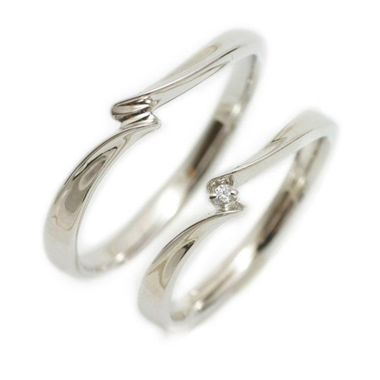 ペアリング 2本セット K18 ホワイトゴールド マリッジリング 結婚指輪 天然 ダイヤモンド 日本製【NEWショップ】【送料無料】 【ペアリング】【ホワイトゴールド】
