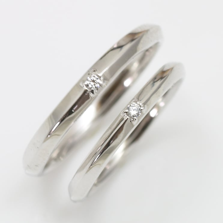 ペアリング 2本セット K18ホワイトゴールド 天然ダイヤモンド マリッジリング 結婚指輪 日本製【NEWショップ】【送料無料】【ホワイトゴールド】【ダイヤモンド】【ペアリング】