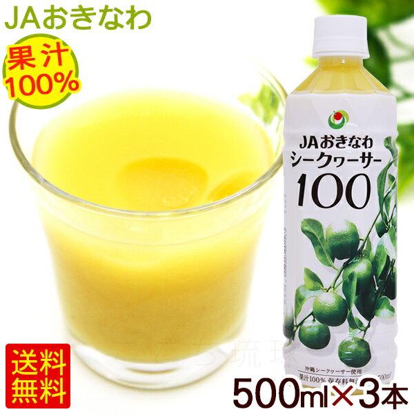 JAおきなわ シークワーサー100 果汁100% 500ml×3本 <送料無料> │青切りシークヮーサージュース 原液│