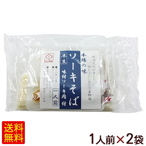 半生 沖縄そば 味付ソーキ肉付き 1人前×2袋 (サン食品) 【送料無料メール便】
