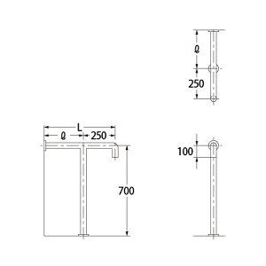 カクダイ トイレ用 手すり 700×450 2411-2-34