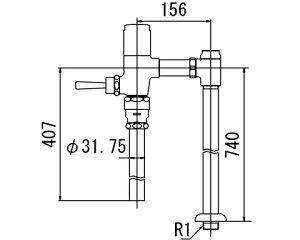 INAX トイレ フラッシュバルブ【CF-6115UTA-C】 低圧用 洗浄水量6-8L便器用(定流量弁付フラッシュバルブ) 中水用[納期4週間] 【CF6115UTAC】 INAX・イナックス・LIXIL・リクシル